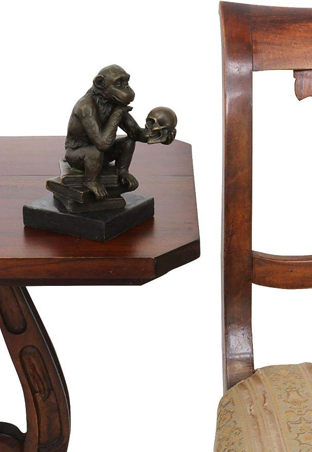 Scultura decorativa in bronzo scimmia teschio Darwin stile antico statua figura
