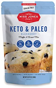 Miss Jones Baking Keto Blueberry Muffin Mix - Gluten Free, Low Carb, No Sugar Added, Naturally Sweetened Desserts & Treats - Diabetic, Atkins, WW, and Paleo Friendly