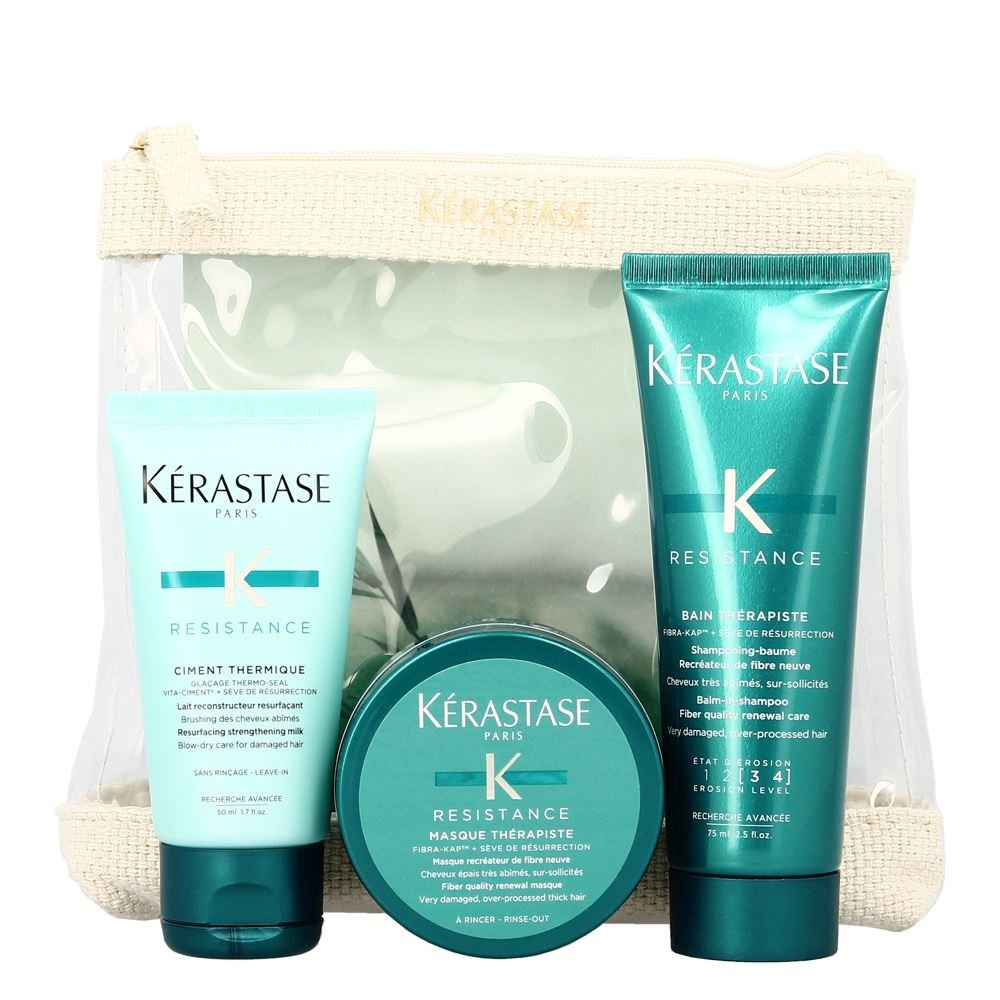 Kerastase Resistance Travel Set (Bain therapiste 75 ml, Masque therapiste 75 ml & Ciment Thermique 50 ml) Generic