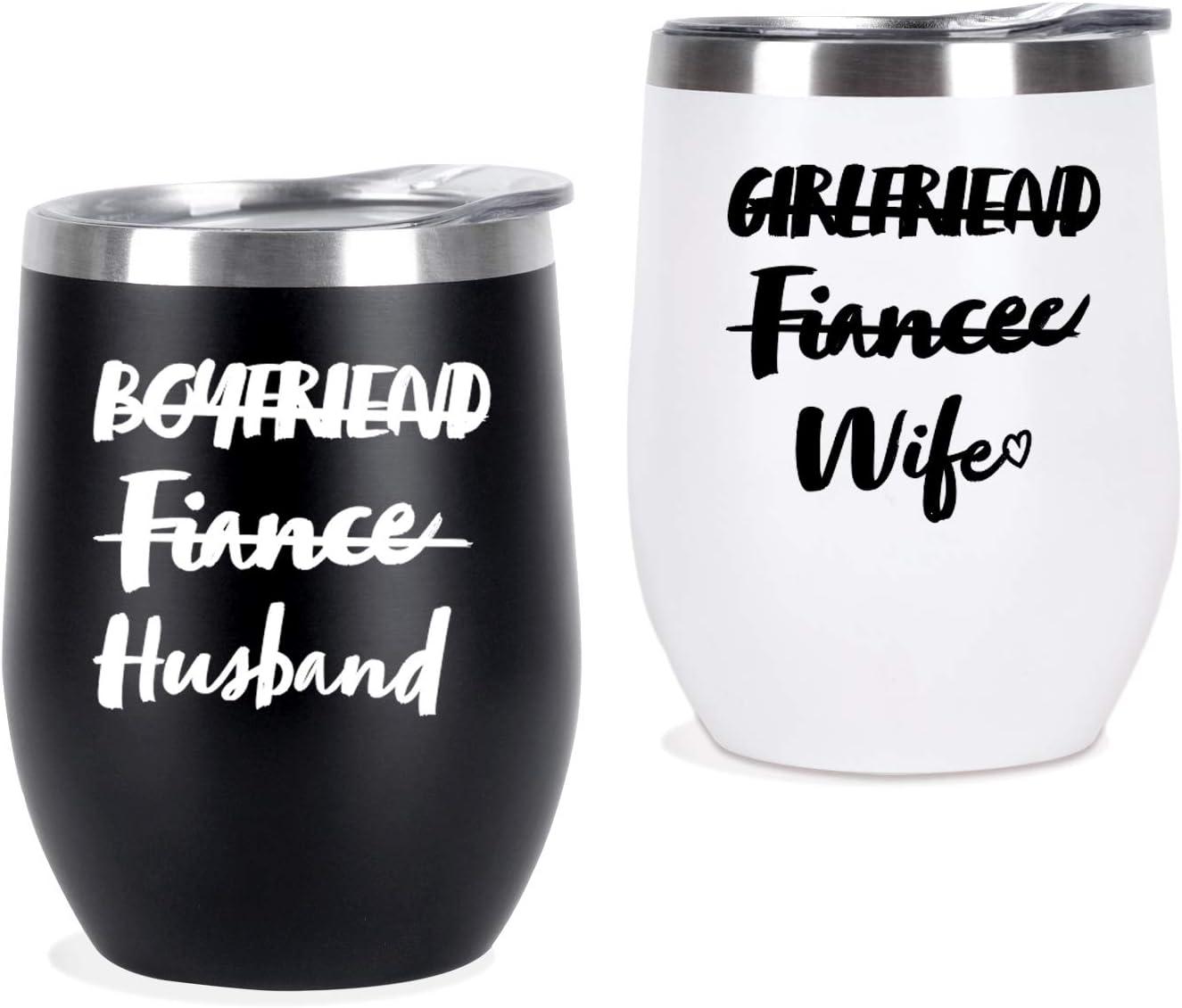 Wedding Couple Wine Tumbler Set, Funny 12 Oz Stainles Steel Tumbler Set, Funny Wedding Bridal Shower Gifts for Couple Newlywed Him Her Husband Wife