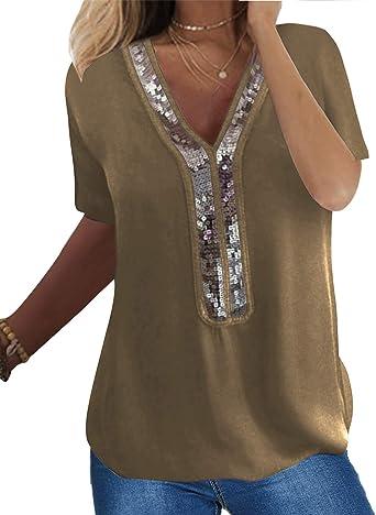 Camiseta de manga larga para mujer de Yoins, sexy, sin hombros, elegante, brillante, con cuello redondo: Amazon.es: Ropa y accesorios
