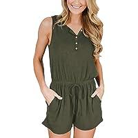 YIBOCK Women Summer Sleeveless Button Down Striped Short Jumpsuit