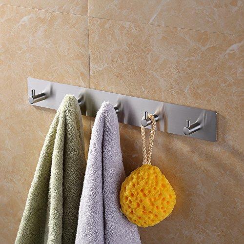 KES Self Adhesive Hooks Rail STAINLESS STEEL 5-Hook Rack Bath Towel Hook Sticky Bathroom Kitchen Towel Multi Hanger Brushed Finish, A7060H5-2 by Kes