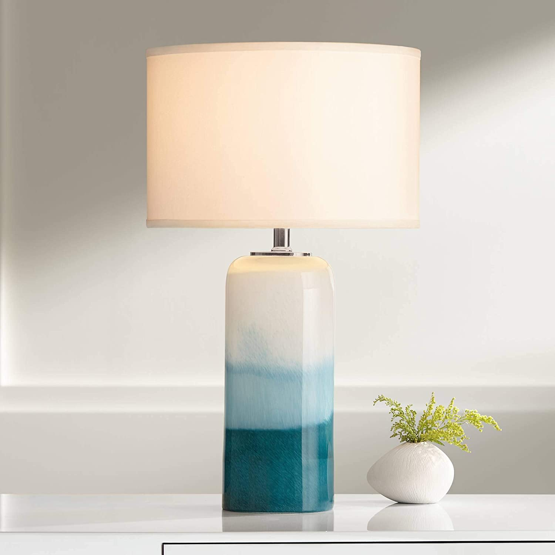 Roxanne Modern Coastal Table Lamp with Nightlight LED Blue Art Glass Column White Drum Shade Decor for Living Room Bedroom Beach House Bedside Nightstand Home Office Family - Possini Euro Design