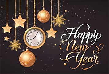 AOFOTO 11x11ft Happy New Year Backdrop 11 Christmas Ball Stars Snowflake  Time Clock Background Carnival Party Decoration Holiday Eve Celebration