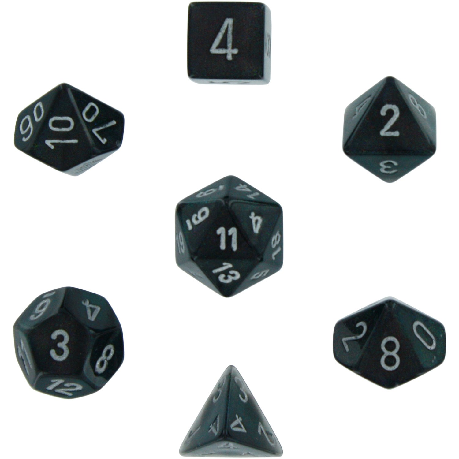 Chessex Dice: Polyhedral 7-Die Borealis Dice Set - Smoke with Silver numbers CHX-27428