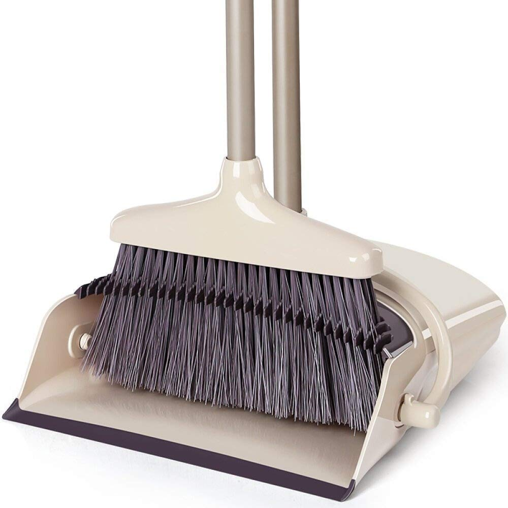 Luxe Dust Broom and Dustpan Combo set, Long Handle Dustpan and Lobby Broom Combo, Treelen Grips Sweeper Set, For Premium Luxury Home Sweeping and Cleaning.