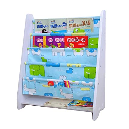 LANKUO Kids Book Rack Storage Bookshelf Toy Sling White Green Light Blue