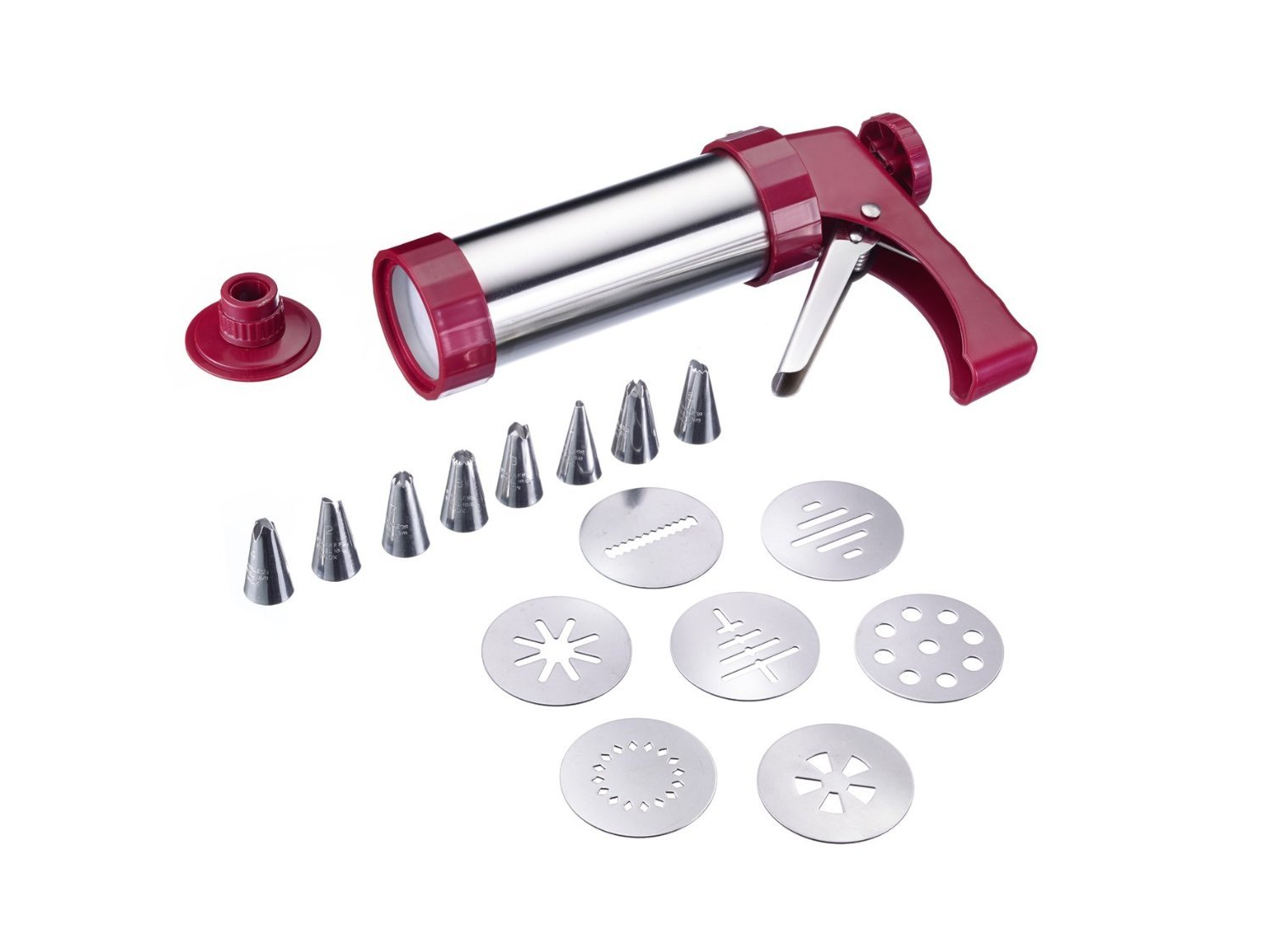 Westmark Germany Multipurpose Stainless Steel Cookie Press and Piping Gun Decorating Kit with Recipes