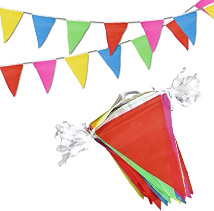 Amazon.com: Banderines multicolores de 100 pies para fiesta ...