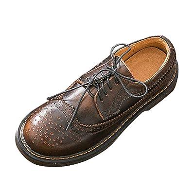 SXSHUN Mocasines Brogue para Niñas Zapatos de Cuero para Uniforme Colegio con Cordones: Amazon.es: Zapatos y complementos