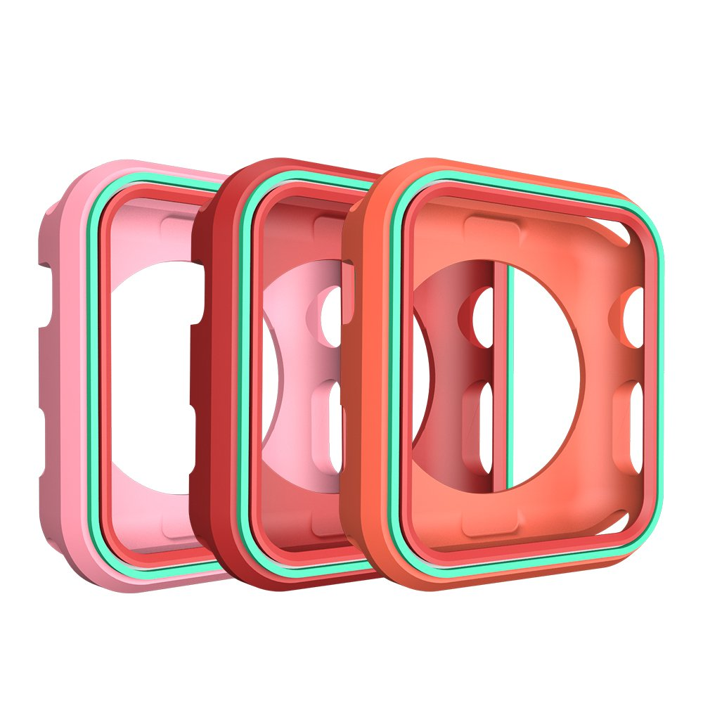 AWINNER Colorful Case for Apple Watch 38mm,Shock-proof and Shatter-resistant Protective iwatch Silicone Case for Apple Watch Series 3,Series 2,Series 1, Nike+,Sport,Edition (Pink,Red,Orange)