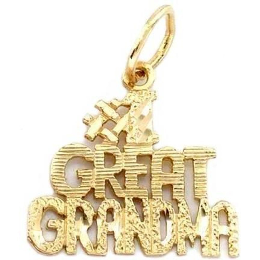 #1 Great Grandma Charm Diamond-Cut 14k Gold 13mm D-10016