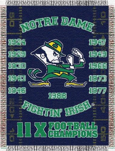 (NCAA Notre Dame Fighting Irish Commemorative Woven Tapestry Throw, 48