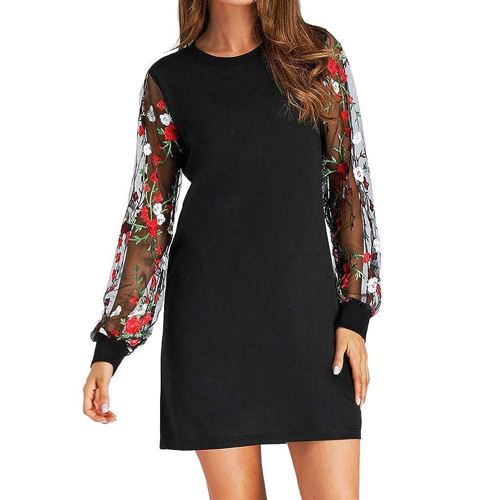 HARRYSTORE Long Sleeve Dresses for Women Fashion Mesh Sleeve O-Neck Floral Printed Mini Dress