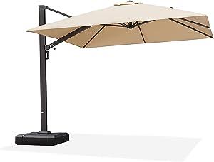 PURPLE LEAF 10 FT Square Patio Umbrella Large Outdoor Aluminum Umbrella Offset Umbrella with 360-degree Rotation Cantilever Umbrella for Garden Deck Backyard Pool, Beige