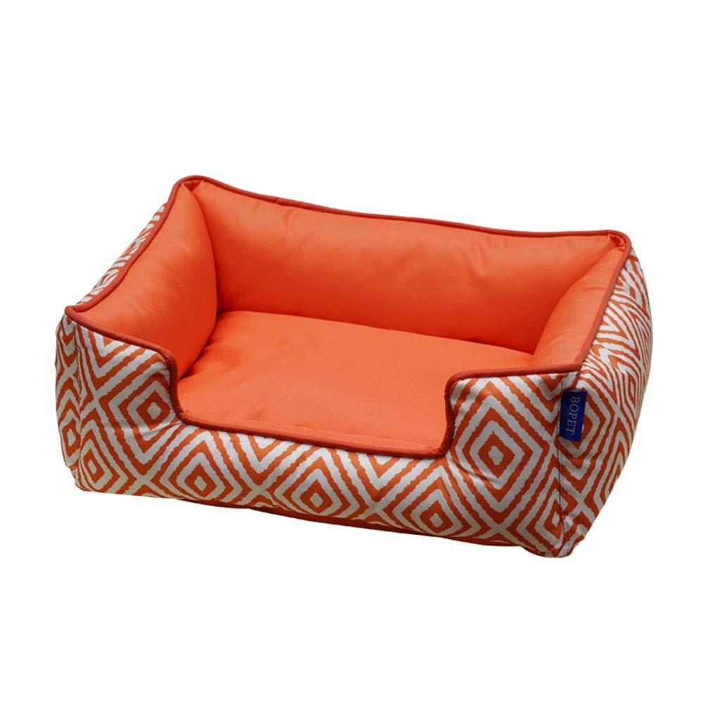 orange diamond lattice M orange diamond lattice M Dog Bed Pet Nest, Removable Cat Litter, Four Seasons Universal Soft Comfortable Dog Pet Warm Basket Mattress (color   orange Diamond Lattice, Size   M)