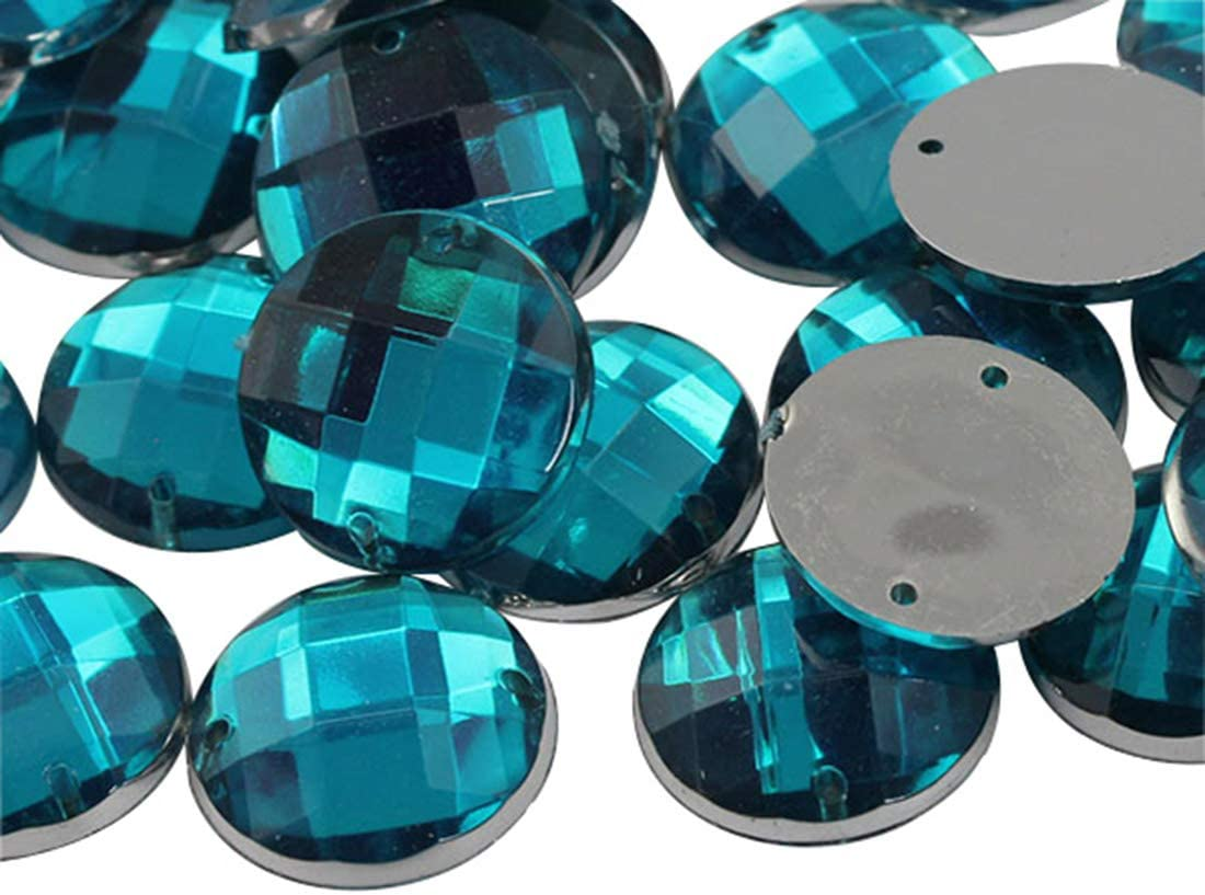 Garment Embelishments Allstarco 18x13mm Blue Aqua CH24 Flat Back Sew On Oval Beads Acrylic Rhinestones Sewing Plastic Gems with Holes for Jewelry Crafts 50 Pieces Shoes Clothes Cosplays