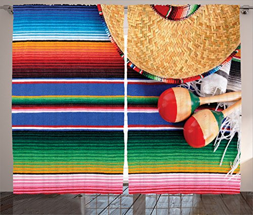 Ambesonne Mexican Decorations Collection, Mexican Artwork with Sombrero Straw Hat Maracas Serape Blanket Rug Image, Living Room Bedroom Curtain 2 Panels Set, 108 X 84 Inches, Green Blue Red Ivory