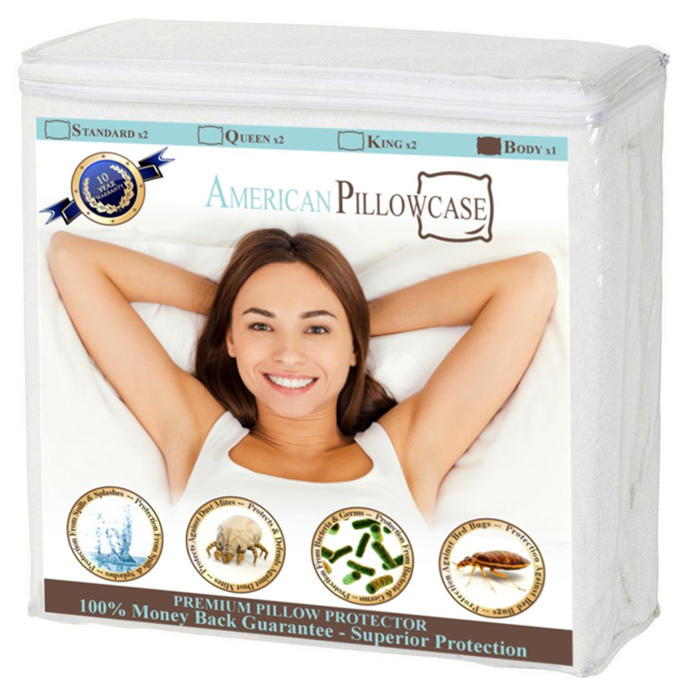 American Pillowcase Pillow Protectors Zippered Standard - Dust Mite, Bacteria, Allergy Control - Waterproof Encasement - Bed Bug Proof! (Standard Size, Set of 2 Pk)