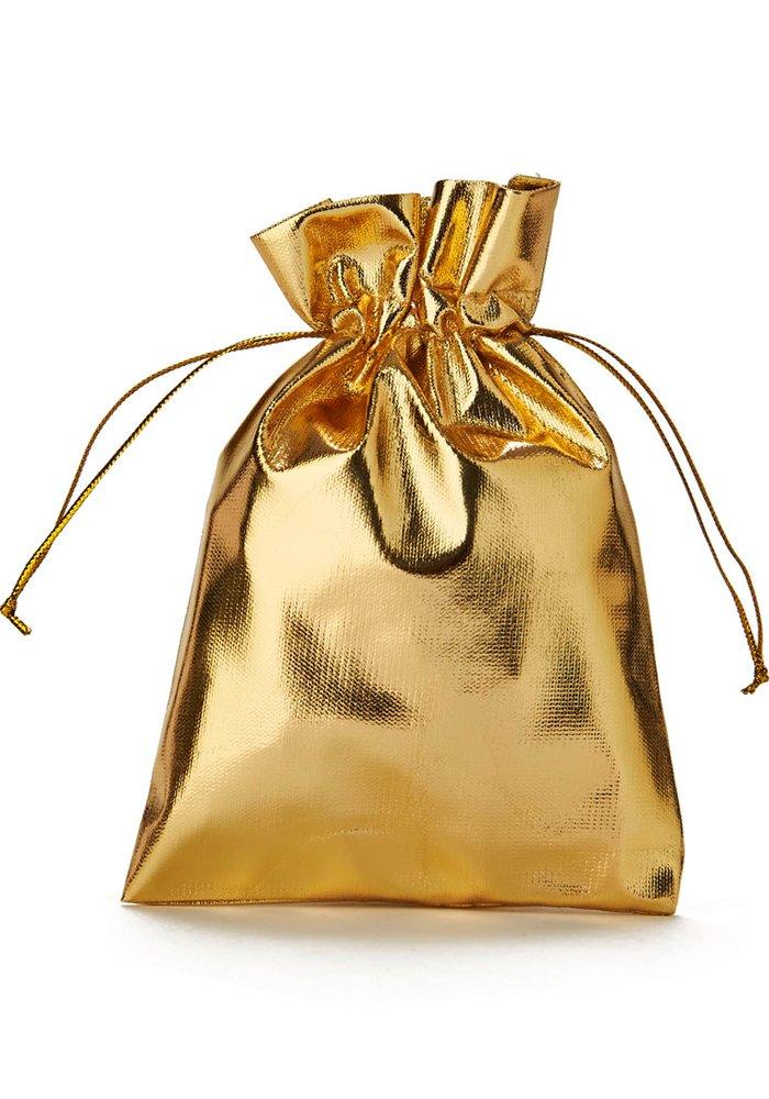 30 Stk. Organzabeutel, Organzasäckchen,gold metallic, Größe 15x10 cm (Höhe x Breite), blickdicht zum Zuziehen Organzasäckchen organzabeutel24