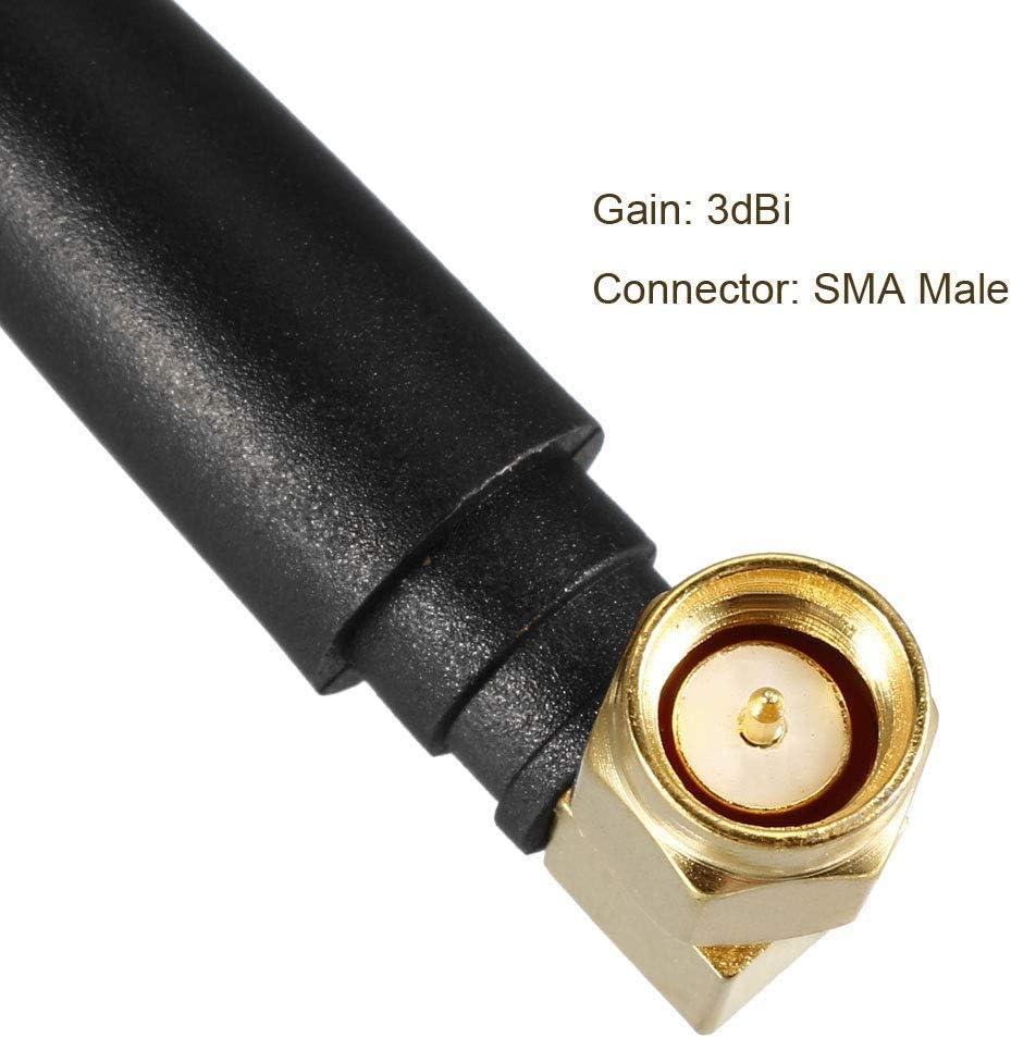 sourcing map WiFi Antena 3dBi 2400-2500MHz SMA Macho Acodado Conector Mini Omnidireccional 50mm Largo Compatible con Bluetooth//Zigbee Antena