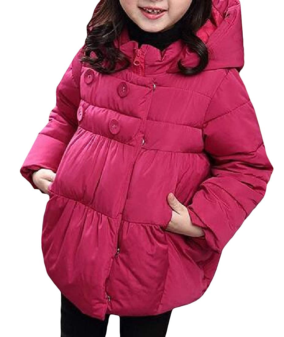 Cromoncent Girls Stylish Hooded Cotton-Padded Overcoat Coat Pure Color Parkas Jacket
