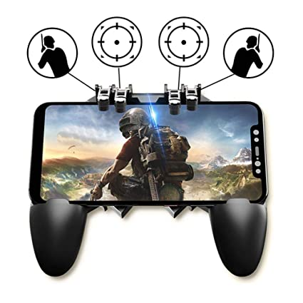 NOYMI Pubg Trigger Controller,Mobile Gamepad - 6 Finger Pubg Game Assistant  with 4 Highly Sensitive Triggers,Left and RightTilt Probe,Fast