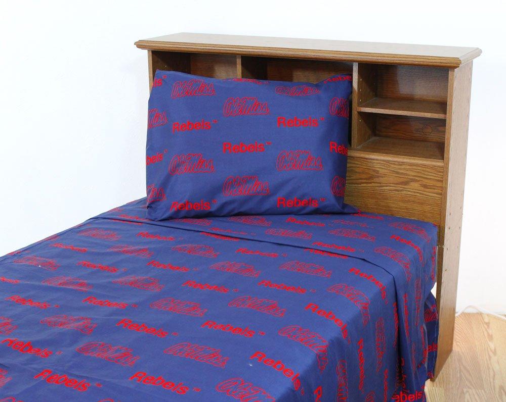 NCAA Ole Miss Rebels Bedding Set Collegiate Blue Queen Bed