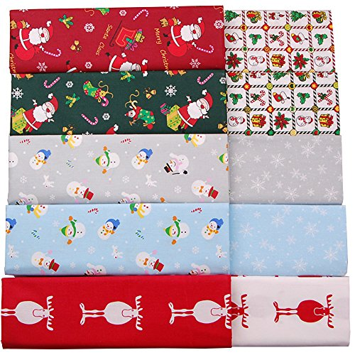 Christmas Fabric,100% Cotton Fat Quarters Fabric Bundles,Quilting Fabric for Craft Sewing,10 Pcs 18''x22''(2 1/2 Yards Total) by Hanjunzhao