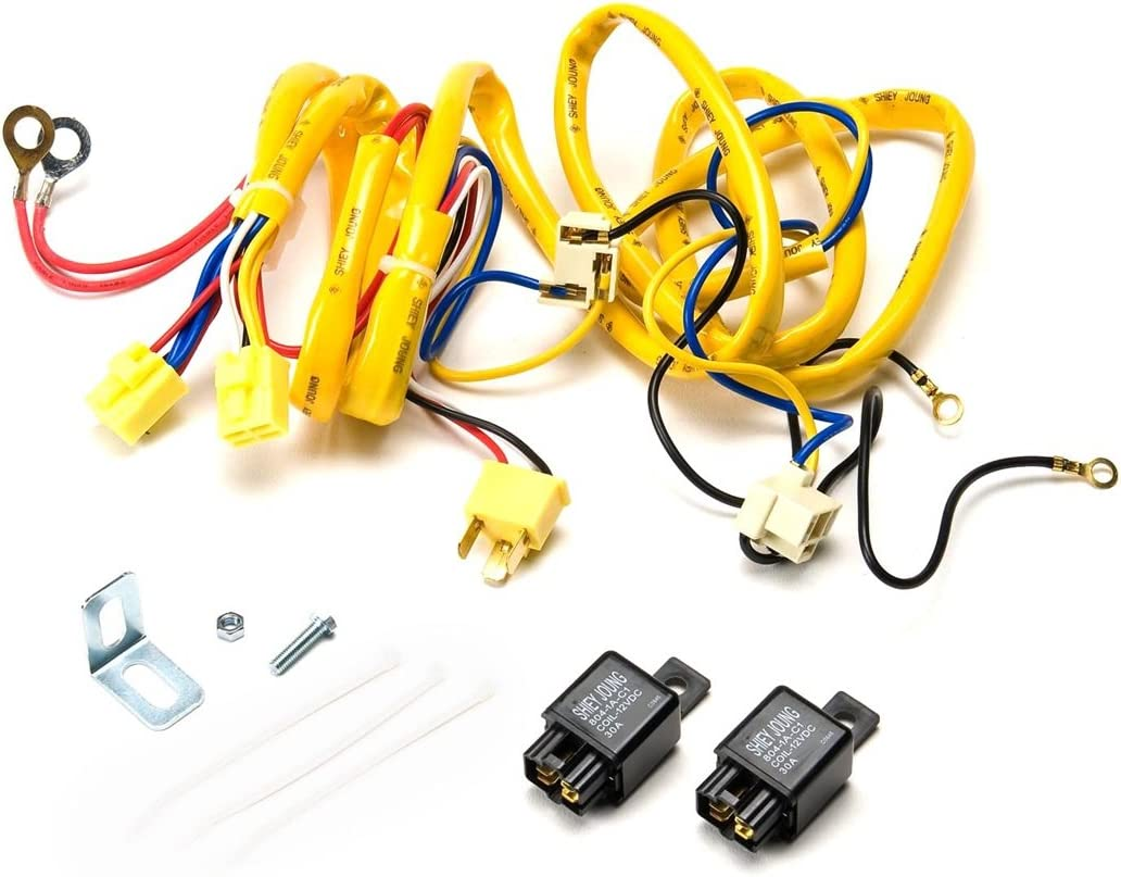 amazon.com: putco 230004hw premium automotive lighting h4 100w heavy duty wiring  harness and relay,black: automotive  amazon.com