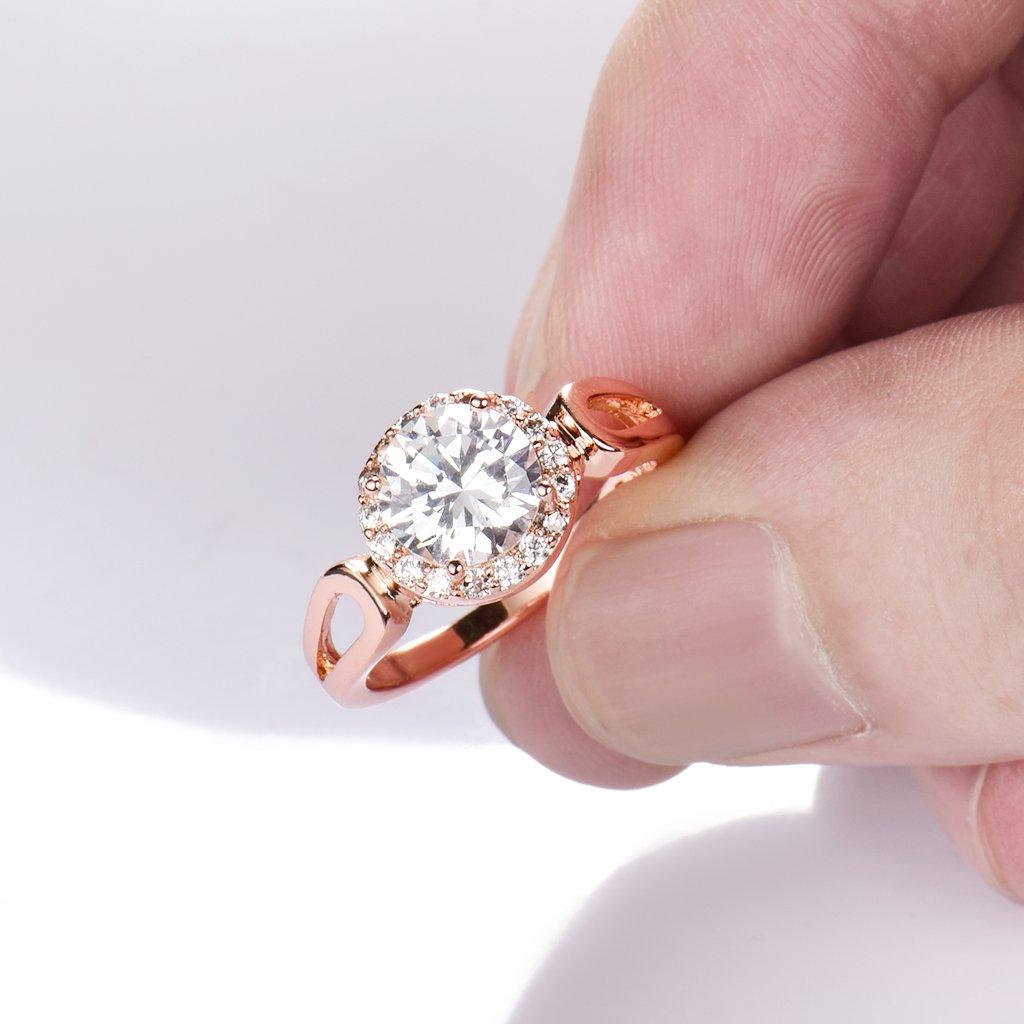 Amazon.com: GULICX Jewelry Rose-Gold Base CZ Round White Stone Women ...