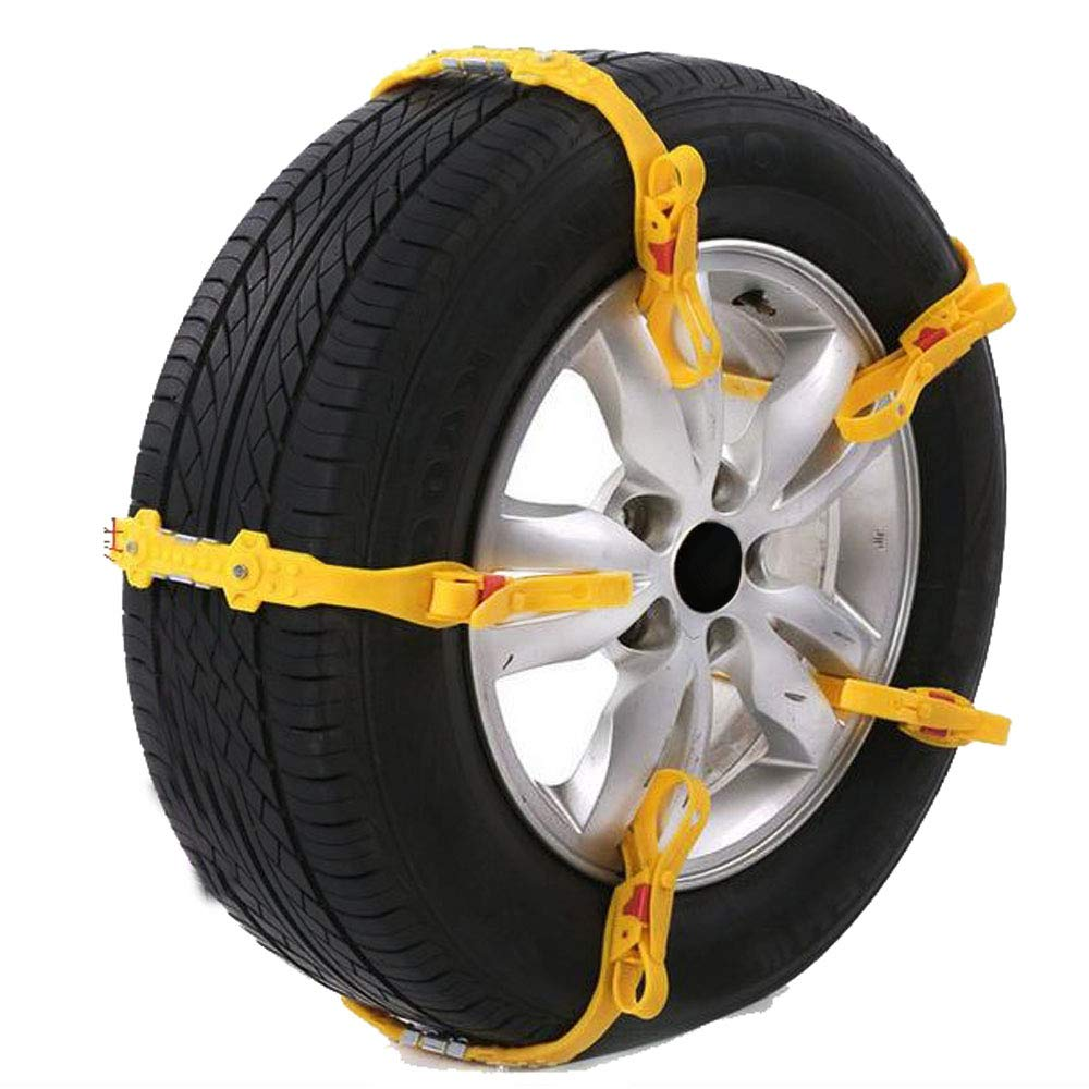 ALEKO SCP02 Adjustable Fit Emergency Anti-Skid Snow Chain Straps Yellow Lot of 10 5558999846