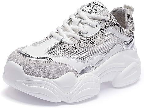 Willsky Zapatillas de Running para Mujer, Zapatillas Deportivas Zapatillas de Deporte Ligeras para Caminar Chunky Absorción de Choque Malla Jogging Informal,White,36: Amazon.es: Hogar