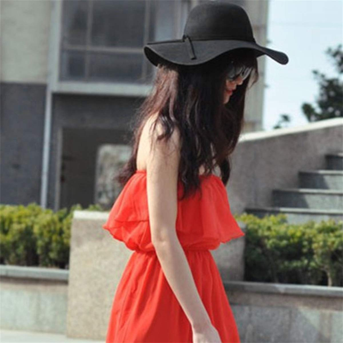 KSDJSA Felt Fedoras Sun Hat Women Vintage Wide Brim Sunbonnet Fedoras Lady Beach
