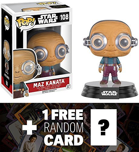 Star Wars Maz Kanata: Funko POP! x Vinyl Bobble-Head Figure w/ Stand + 1 Free Official Trading Card Bundle (096212)