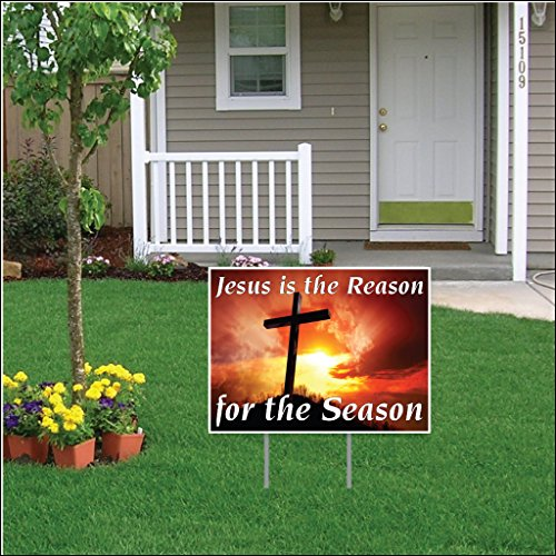 (VictoryStore Jesus Is the Reason for the Season Easter Lawn Display (Sunset Cross)- 18''x24'' Yard Sign Decoration Two Stakes Per Sign (6))