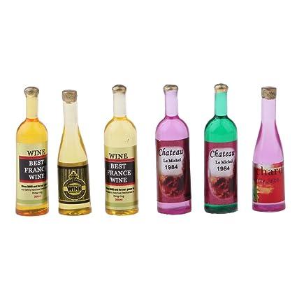 D DOLITY 6 Piezas 1:12 Miniaturas Botella de Vino de Plástico Decoración de Casa