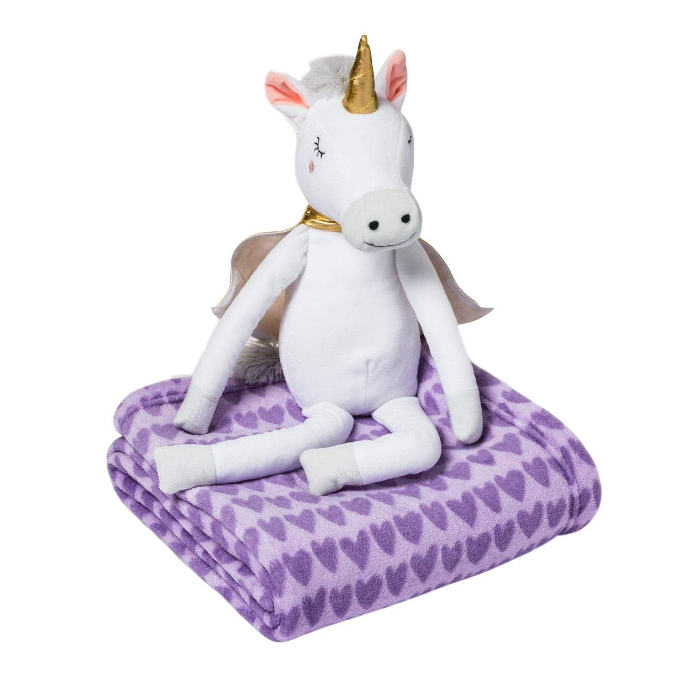 by pillowfort Unicorn Throw Blanket Hugger for Girls Plush Animal Soft Warm 2 Pc Set