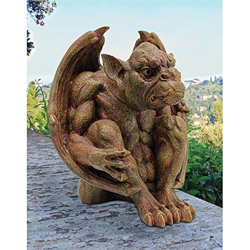 (Design Toscano Balthazar's Watch Gargoyle Gothic Decor Statue, 10 Inch, Polyresin, Aged)