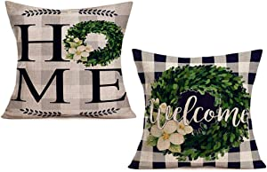 Smilyard FallBuffalo Check Plaid Boxwood Wreath Throw Pillow Cover Home Welcome Inspirational Quote Pillow Cases Cotton Linen Square Farmhouse Cushion Cover for Sofa 18x18 Inch Set of 2 (Boxwood 2PS)