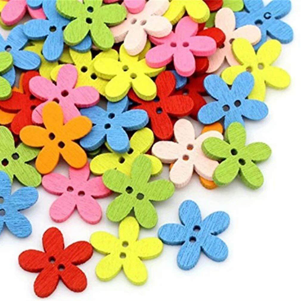 Nalmatoionme 50pcs Boutons en Bois Peinture Florale 2 Trous 17mm Boutons en Bois pour Le Bricolage Couture Couture D/écorer