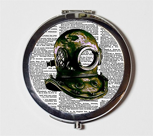 Scuba Mask Compact Mirror Victorian Steampunk Deep Sea Diving Diver for Makeup Cosmetics