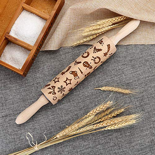 Inverlee Christmas Wooden Rolling Pins Engraved Carved Embossed Rolling Pin with Christmas Symbols for Baking Embossed Cookies Kitchen Tool (38x4x4cm-Holiday)