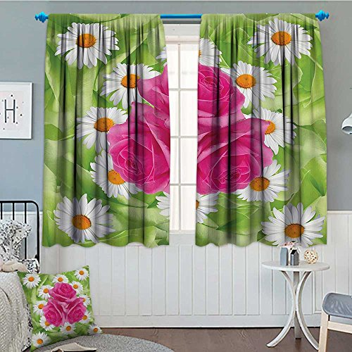 Roses Decorations Collection Waterproof Window Curtain Mixture of Rose and Daisies with Warm Colors Purity Icons in Habitat Modern Blackout Draperies For Bedroom 84