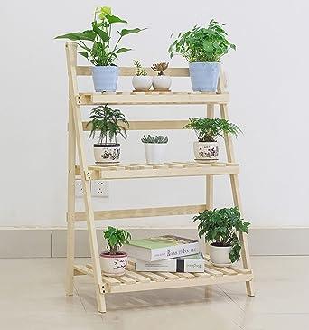 estantes para plantas Soporte plegable de madera de la maceta de 3 niveles Jardinera del jardinero
