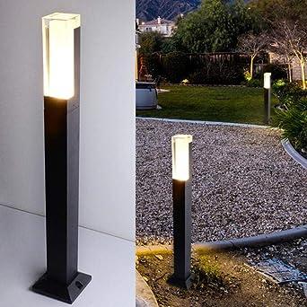 YAOUEWL Led Exterior Lámpara De Pared Columna Exterior Lámpara De Pie Para Jardín Ip67 Impermeable Aleación De Aluminio Led Lámpara De Césped Blanco Natural_10W 80X10X5Cm: Amazon.es: Iluminación