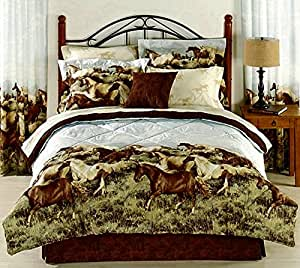 Amazon.com: 8pc Queen Size Western Horses Comforter and Sheet Set (Bed in a Bag): Home & Kitchen
