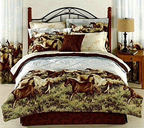 amazoncom 6pc twin size western horses comforter and sheet set bed in a bag home kitchen - Western Bedding
