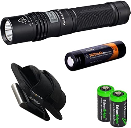 E35UE Fenix E35 Ultimate Edition 900 Lumen CREE XM-L2 U2 LED Flashlight with Genuine Fenix ARB-L2S 18650 3400mAh Li-ion rechargeable battery Fenix ARE-C1 home//car Charger and 2 X EdisonBright CR123A Lithium batteries package